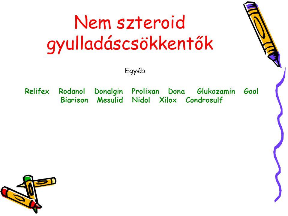 Nem szteroid gyulladáscsökkentők Egyéb Relifex Rodanol Donalgin Prolixan Dona Glukozamin Gool Biarison Mesulid Nidol Xilox Condrosulf