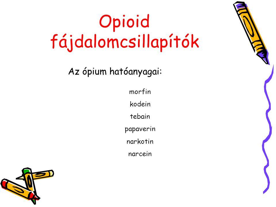Opioid fájdalomcsillapítók Az ópium hatóanyagai: morfin kodein tebain papaverin narkotin narcein