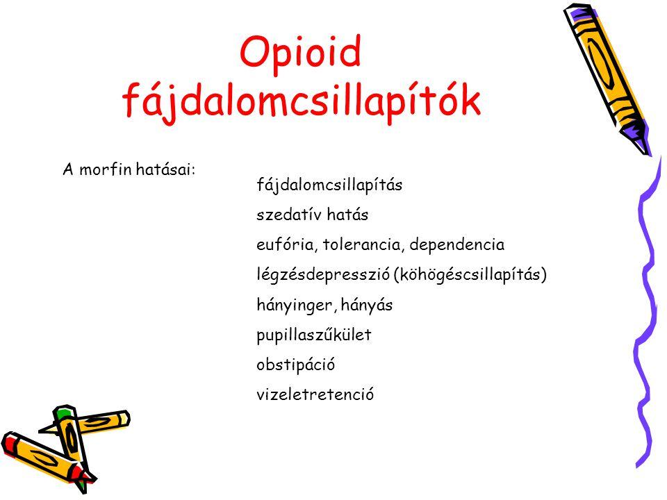 Opioid fájdalomcsillapítók A morfin hatásai: fájdalomcsillapítás szedatív hatás eufória, tolerancia, dependencia légzésdepresszió (köhögéscsillapítás)