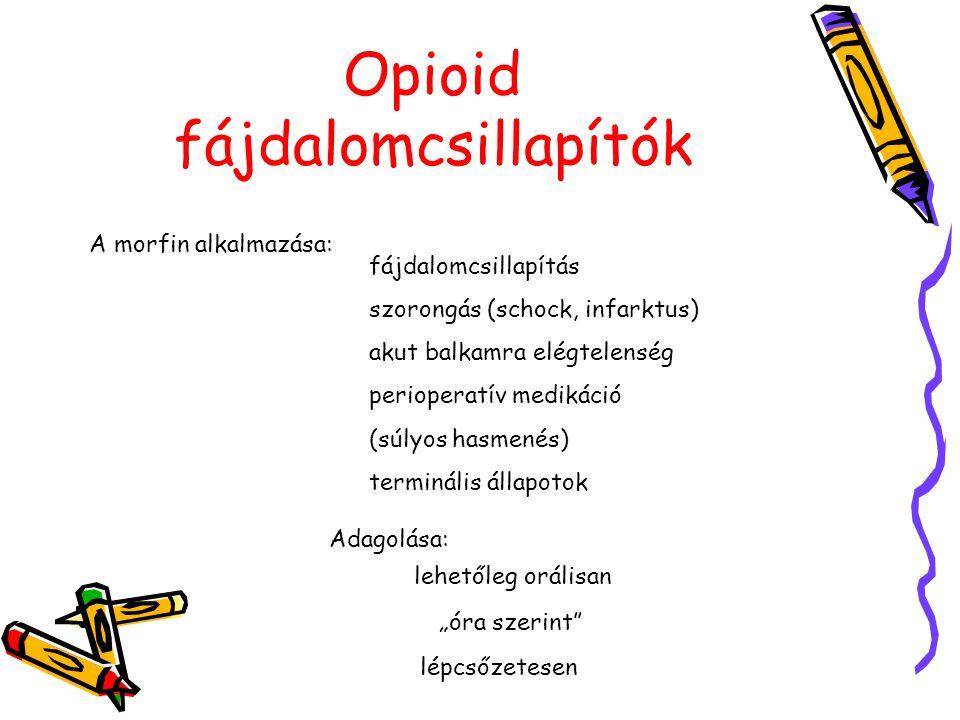 Opioid fájdalomcsillapítók A morfin alkalmazása: fájdalomcsillapítás szorongás (schock, infarktus) akut balkamra elégtelenség perioperatív medikáció (