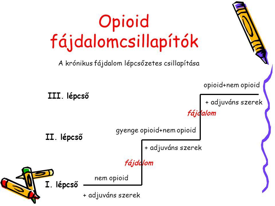 Opioid fájdalomcsillapítók A krónikus fájdalom lépcsőzetes csillapítása nem opioid + adjuváns szerek I. lépcső fájdalom gyenge opioid+nem opioid + adj