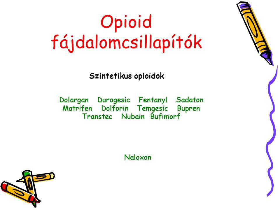 Opioid fájdalomcsillapítók Szintetikus opioidok Dolargan Durogesic Fentanyl Sadaton Matrifen Dolforin Temgesic Bupren Transtec Nubain Bufimorf Naloxon