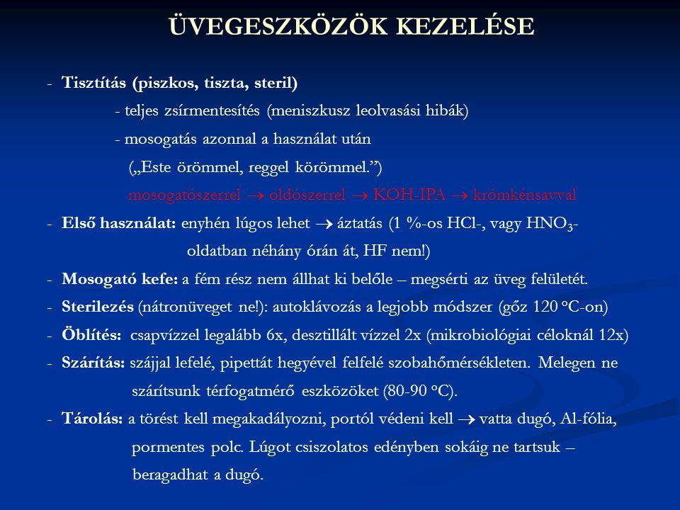 ÜVEGESZKÖZÖK KEZELÉSE - Tisztítás (piszkos, tiszta, steril) - teljes zsírmentesítés (meniszkusz leolvasási hibák) - mosogatás azonnal a használat után