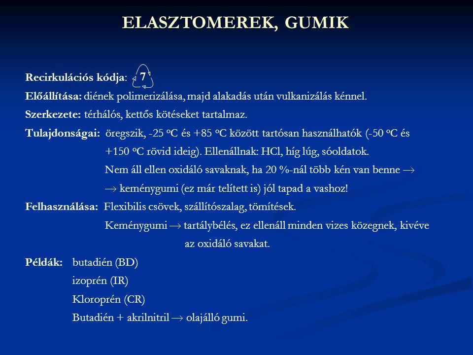 ELASZTOMEREK, GUMIK Recirkulációs kódja: Előállítása: diének polimerizálása, majd alakadás után vulkanizálás kénnel. Szerkezete: térhálós, kettős köté