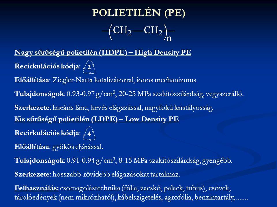 POLIETILÉN (PE) Nagy sűrűségű polietilén (HDPE) – High Density PE Recirkulációs kódja: Előállítása: Ziegler-Natta katalizátorral, ionos mechanizmus. T
