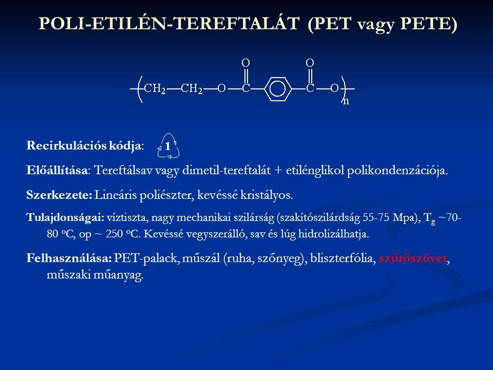 POLI-ETILÉN-TEREFTALÁT (PET vagy PETE) Recirkulációs kódja: Előállítása: Tereftálsav vagy dimetil-tereftalát + etilénglikol polikondenzációja. Szerkez