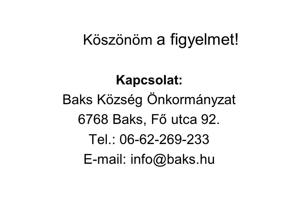 Köszönöm a figyelmet! Kapcsolat: Baks Község Önkormányzat 6768 Baks, Fő utca 92. Tel.: 06-62-269-233 E-mail: info@baks.hu