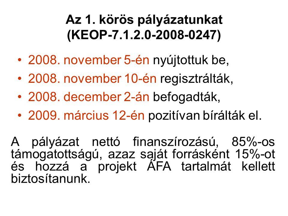 Az 1. körös pályázatunkat (KEOP-7.1.2.0-2008-0247) 2008. november 5-én nyújtottuk be, 2008. november 10-én regisztrálták, 2008. december 2-án befogadt