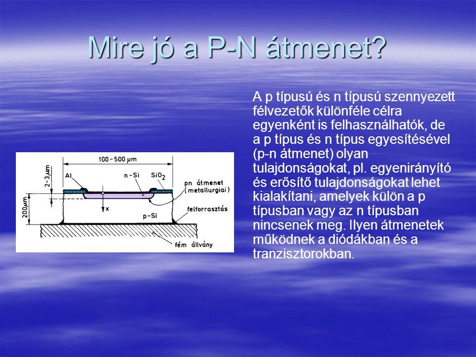 Mire jó a P-N átmenet? A p típusú és n típusú szennyezett félvezetők különféle célra egyenként is felhasználhatók, de a p típus és n típus egyesítésév