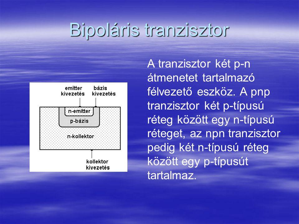 Bipoláris tranzisztor A tranzisztor két p-n átmenetet tartalmazó félvezető eszköz. A pnp tranzisztor két p-típusú réteg között egy n-típusú réteget, a