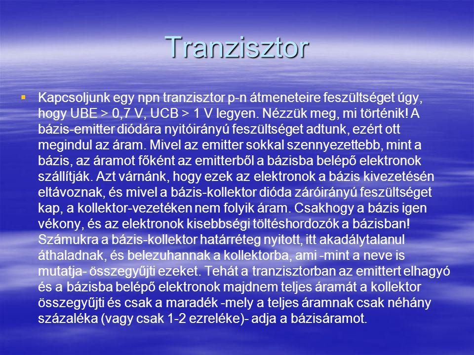 Tranzisztor   Kapcsoljunk egy npn tranzisztor p-n átmeneteire feszültséget úgy, hogy UBE > 0,7 V, UCB > 1 V legyen. Nézzük meg, mi történik! A bázis