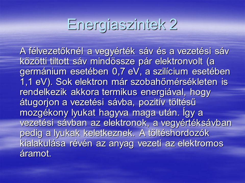 Energiaszintek 2 A félvezetőknél a vegyérték sáv és a vezetési sáv közötti tiltott sáv mindössze pár elektronvolt (a germánium esetében 0,7 eV, a szil