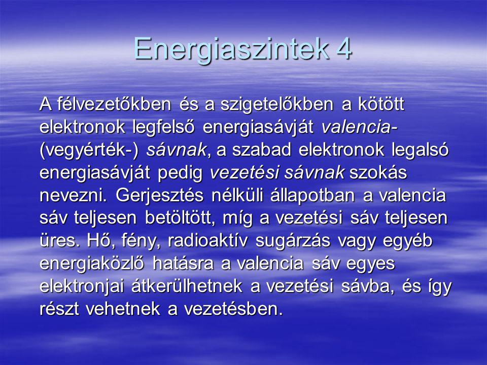 Energiaszintek 4 A félvezetőkben és a szigetelőkben a kötött elektronok legfelső energiasávját valencia- (vegyérték-) sávnak, a szabad elektronok lega