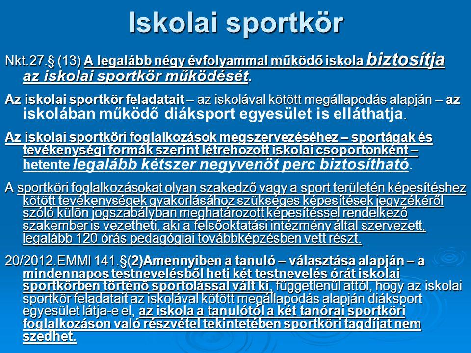 Iskolai sportkör Nkt.27.§ (13) A legalább négy évfolyammal működő iskola biztosítja az iskolai sportkör működését. Az iskolai sportkör feladatait – az