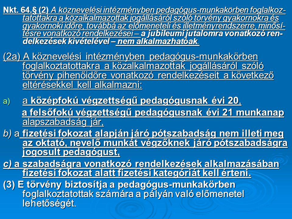 Nkt. 64.§ (2) A köznevelési intézményben pedagógus-munkakörben foglalkoz- tatottakra a közalkalmazottak jogállásáról szóló törvény gyakornokra és gyak