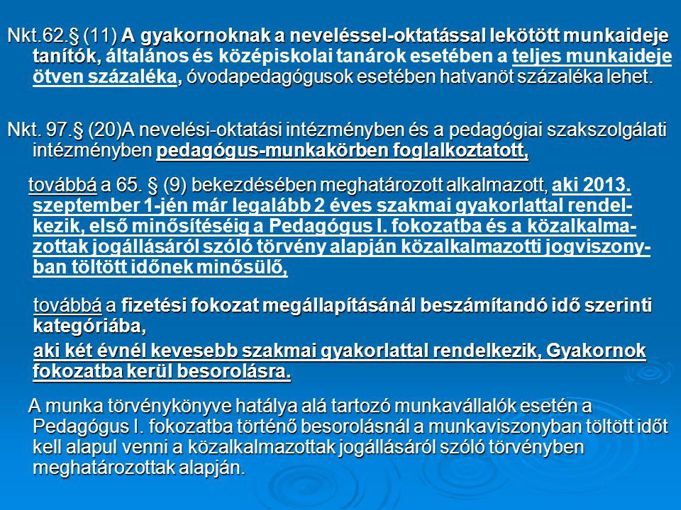 Nkt.62.§ (11) A gyakornoknak a neveléssel-oktatással lekötött munkaideje tanítók,, óvodapedagógusok esetében hatvanöt százaléka lehet. Nkt.62.§ (11) A