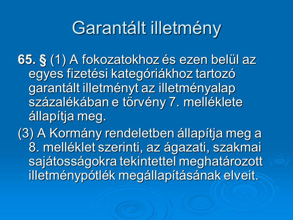 Garantált illetmény 65. § (1) A fokozatokhoz és ezen belül az egyes fizetési kategóriákhoz tartozó garantált illetményt az illetményalap százalékában