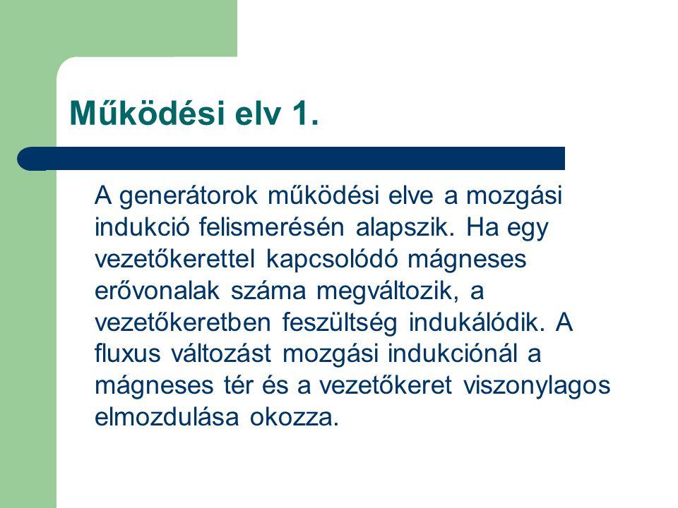 Működési elv 1.A generátorok működési elve a mozgási indukció felismerésén alapszik.