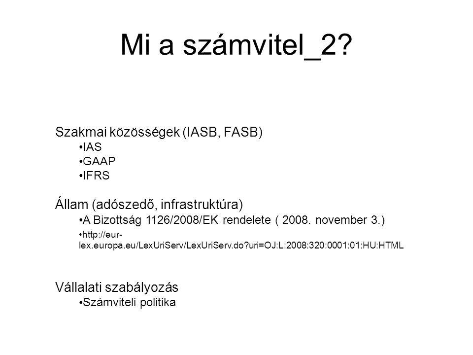 Mi a számvitel_2? Szakmai közösségek (IASB, FASB) IAS GAAP IFRS Állam (adószedő, infrastruktúra) A Bizottság 1126/2008/EK rendelete ( 2008. november 3