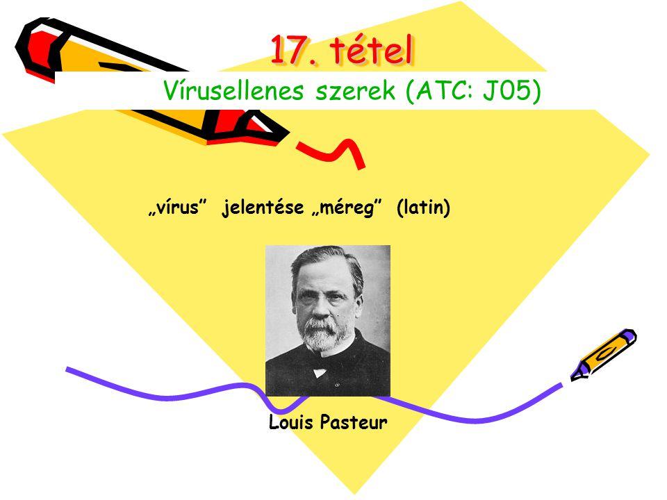 """17. tétel Vírusellenes szerek (ATC: J05) """"vírus"""" jelentése """"méreg"""" (latin) Louis Pasteur"""