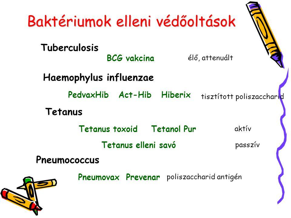 Baktériumok elleni védőoltások Tuberculosis BCG vakcina élő, attenuált Haemophylus influenzae PedvaxHib Act-Hib Hiberix tisztított poliszaccharid Teta