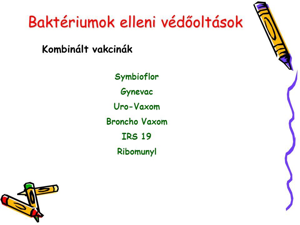 Baktériumok elleni védőoltások Kombinált vakcinák Symbioflor Gynevac Uro-Vaxom Broncho Vaxom IRS 19 Ribomunyl