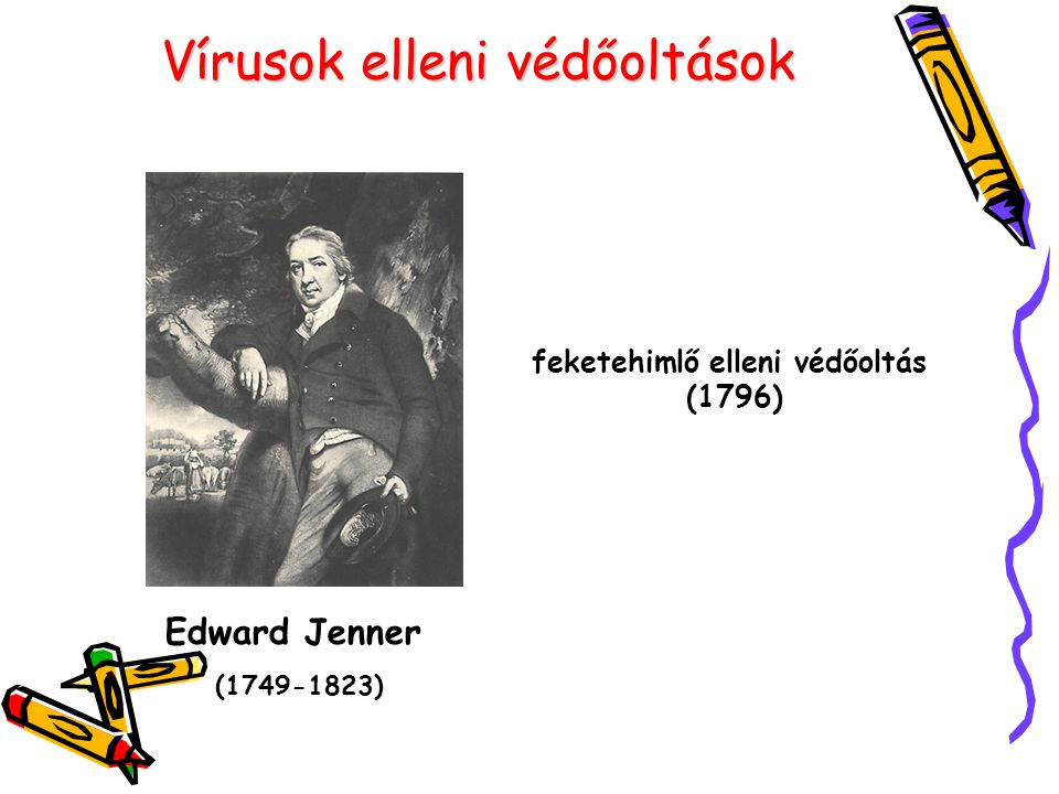 Vírusok elleni védőoltások Edward Jenner (1749-1823) feketehimlő elleni védőoltás (1796)