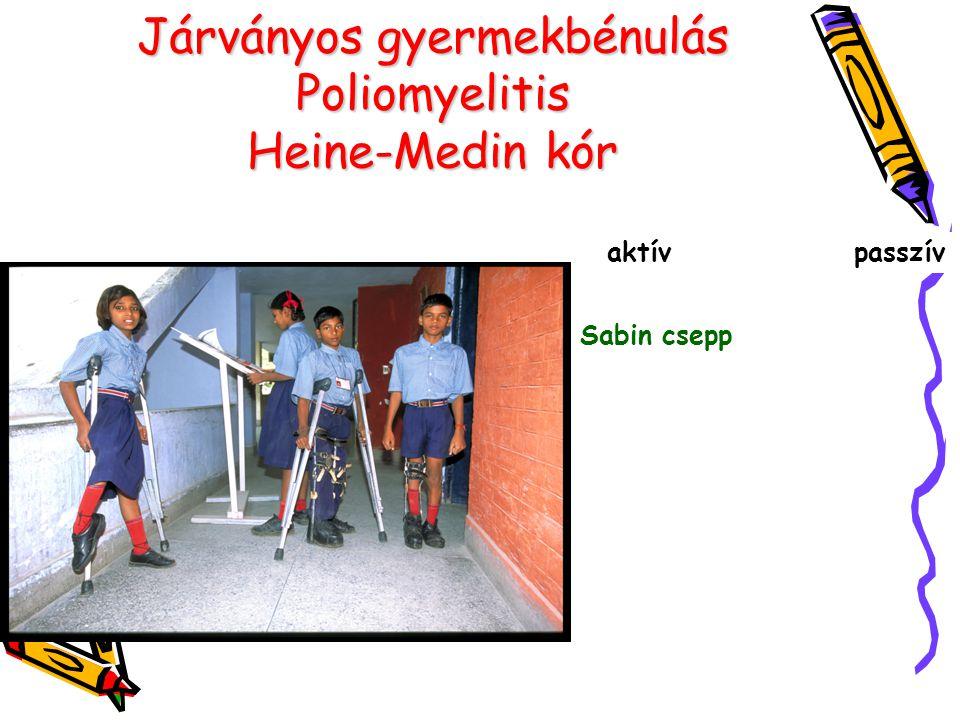 Járványos gyermekbénulás Poliomyelitis Heine-Medin kór aktív passzív Sabin csepp