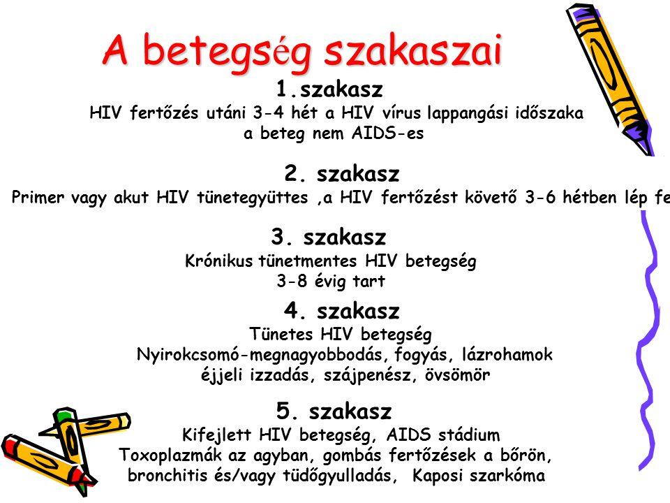 A betegs é g szakaszai 1.szakasz HIV fertőzés utáni 3-4 hét a HIV vírus lappangási időszaka a beteg nem AIDS-es 2. szakasz Primer vagy akut HIV tünete
