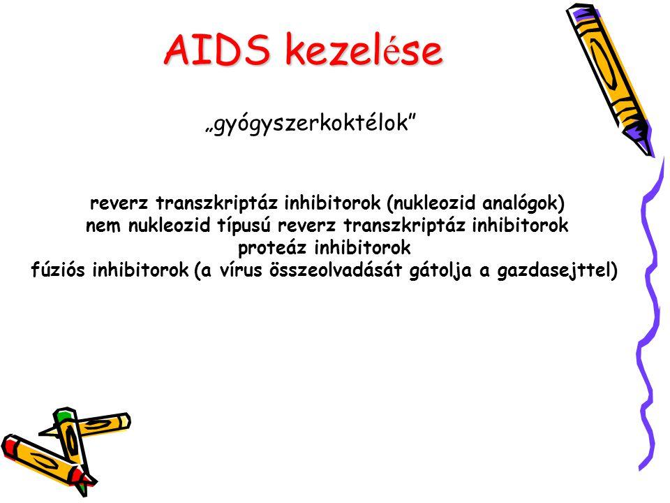 """AIDS kezel é se """"gyógyszerkoktélok"""" reverz transzkriptáz inhibitorok (nukleozid analógok) nem nukleozid típusú reverz transzkriptáz inhibitorok proteá"""