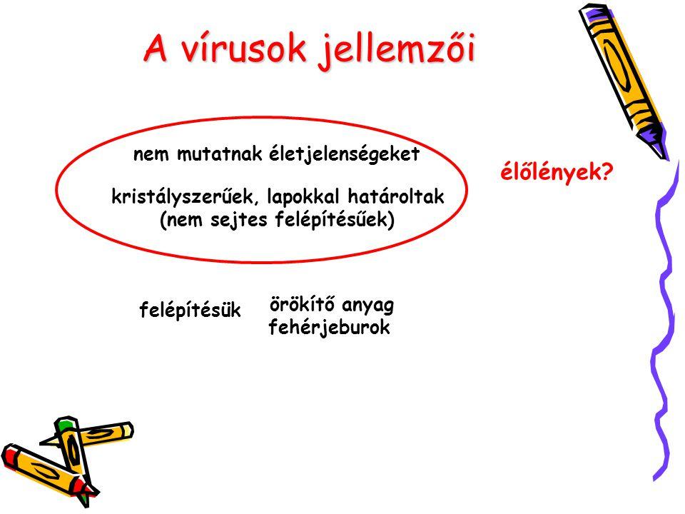 A vírusok megjelenési formái nyugvó vírusműködő vírus nem fertőz éppen (nem szaporíttatja magát) éppen fertőz van határozott alakja köbös (lapokkal határolt) spirális (csavart az örökítő anyaga és hozzá kapcsolódó fehérjerészek) binális (3 részre tagolódik) nincs határozott alakja (mert már vagy még darabokban van)