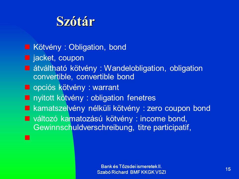 Bank és Tőzsdei ismeretek II.