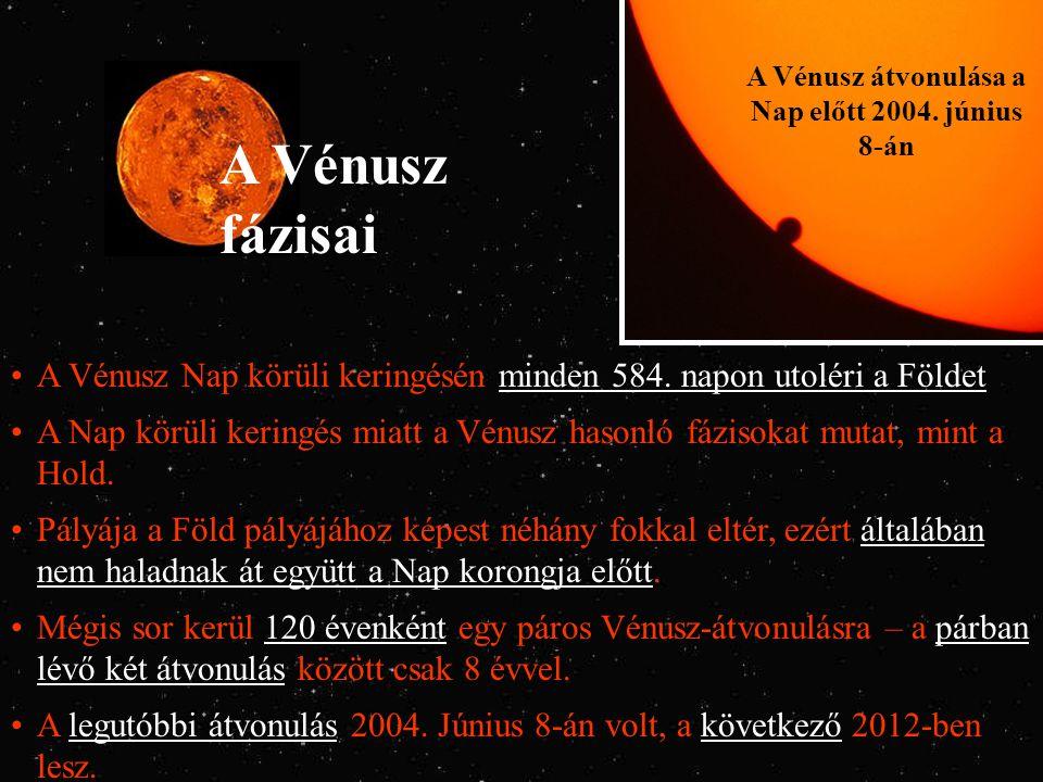 A Vénusz fázisai A Vénusz átvonulása a Nap előtt 2004. június 8-án A Vénusz Nap körüli keringésén minden 584. napon utoléri a Földet A Nap körüli keri