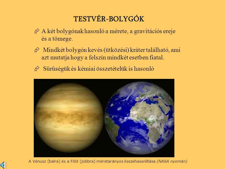 A Vénusz (balra) és a Föld (jobbra) méretarányos összehasonlítása (NASA nyomán) TESTVÉR-BOLYGÓK ÆA két bolygónak hasonló a mérete, a gravitációs ereje