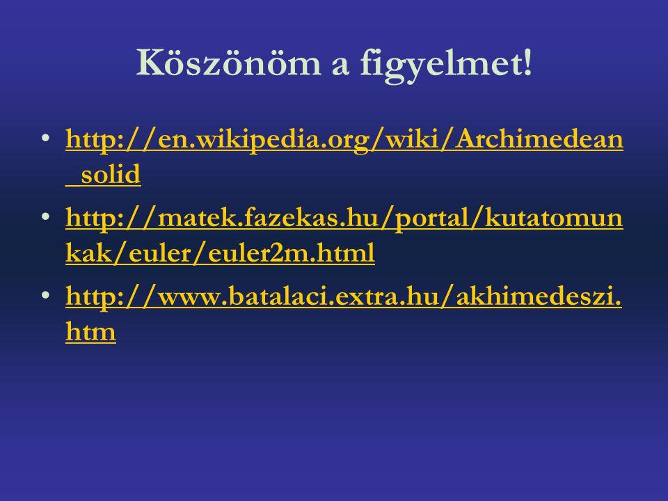 Köszönöm a figyelmet! http://en.wikipedia.org/wiki/Archimedean _solidhttp://en.wikipedia.org/wiki/Archimedean _solid http://matek.fazekas.hu/portal/ku