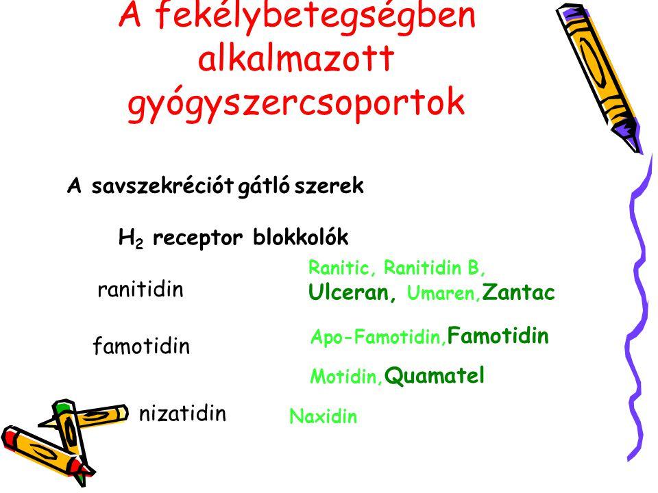 A fekélybetegségben alkalmazott gyógyszercsoportok A savszekréciót gátló szerek H 2 receptor blokkolók ranitidin Ranitic, Ranitidin B, Ulceran, Umaren