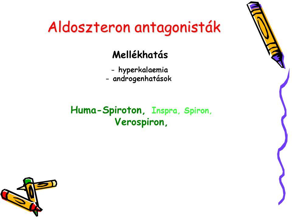 Aldoszteron antagonisták Mellékhatás - hyperkalaemia - androgenhatások Huma-Spiroton, Inspra, Spiron, Verospiron,