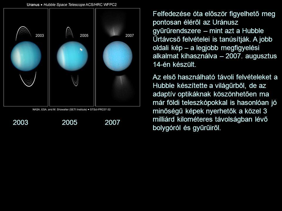 2003 2005 2007 Felfedezése óta először figyelhető meg pontosan éléről az Uránusz gyűrűrendszere – mint azt a Hubble Űrtávcső felvételei is tanúsítják.