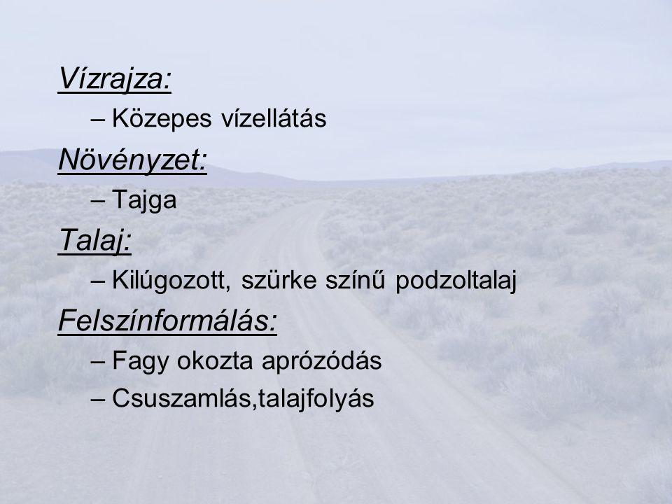 Vízrajza: –Közepes vízellátás Növényzet: –Tajga Talaj: –Kilúgozott, szürke színű podzoltalaj Felszínformálás: –Fagy okozta aprózódás –Csuszamlás,talajfolyás