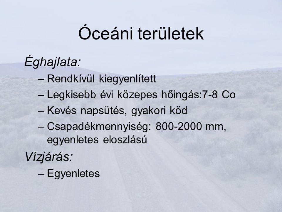 Óceáni területek Éghajlata: –Rendkívül kiegyenlített –Legkisebb évi közepes hőingás:7-8 Co –Kevés napsütés, gyakori köd –Csapadékmennyiség: 800-2000 mm, egyenletes eloszlású Vízjárás: –Egyenletes