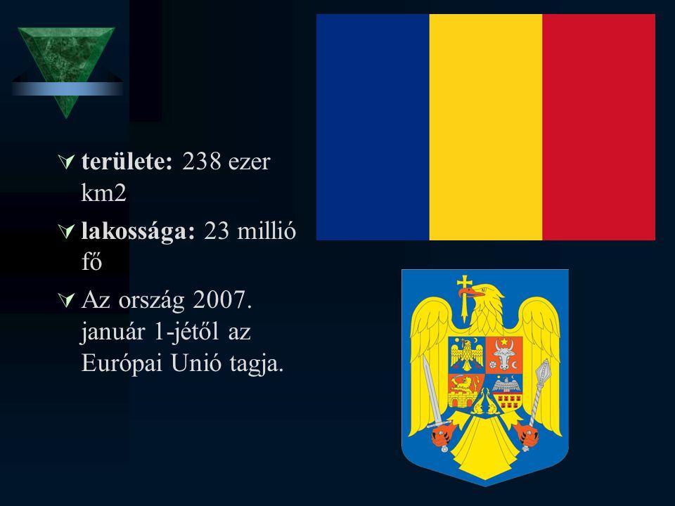  területe: 238 ezer km2  lakossága: 23 millió fő  Az ország 2007. január 1-jétől az Európai Unió tagja.