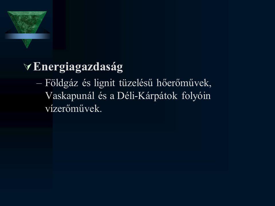  Energiagazdaság –Földgáz és lignit tüzelésű hőerőművek, Vaskapunál és a Déli-Kárpátok folyóin vízerőművek.