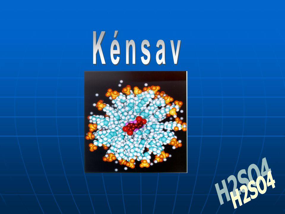 A,: ATOMSZERKEZET: H: 1 p+, 1 e–, 0 n0, 1 e–-héj, 1 külső e– O: 8 p+, 8 e–, 8 n0, 2 e–-héj, 6 külső e– S: 16 p+, 16 e–, 16 n0, 3 e–-héj, 6 külső e– A,: HALMAZSZERKEZET: 7 atomos poláris kovalens kötésű molekula 1 mol tömege 98 gramm.