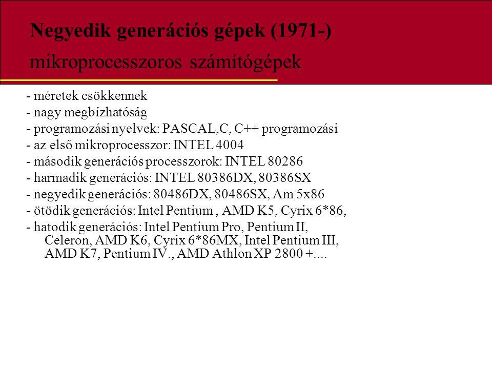 Negyedik generációs gépek (1971-) mikroprocesszoros számítógépek - méretek csökkennek - nagy megbízhatóság - programozási nyelvek: PASCAL,C, C++ progr