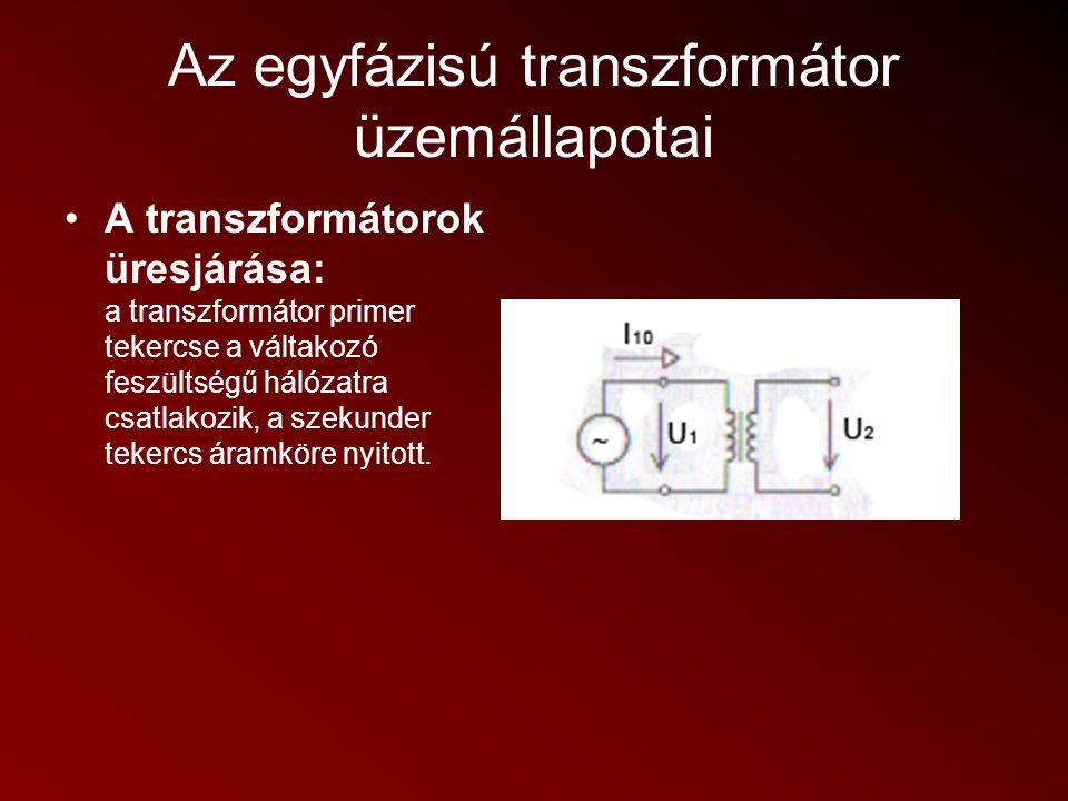 Az egyfázisú transzformátor üzemállapotai A transzformátorok üresjárása: a transzformátor primer tekercse a váltakozó feszültségű hálózatra csatlakozi