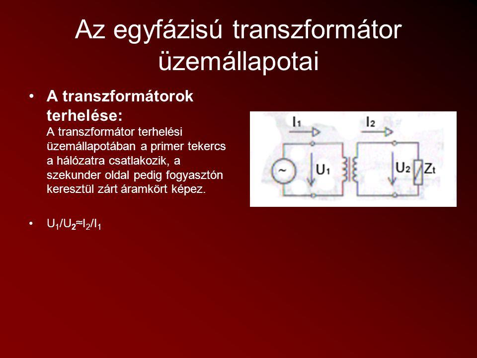 Az egyfázisú transzformátor üzemállapotai A transzformátorok rövidzárási üzemállapota: Rövidzárási üzemállapotban a transzformátor primer tekercse a hálózatra csatlakozik, a szekunder pedig fogyasztó nélkül képez zárt áramkört, azaz a terhelőimpedancia Z t =0