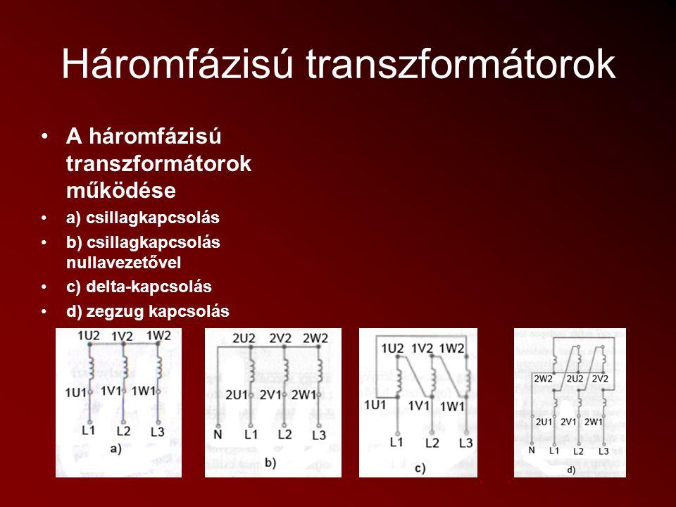 Háromfázisú transzformátorok A háromfázisú transzformátorok működése a) csillagkapcsolás b) csillagkapcsolás nullavezetővel c) delta-kapcsolás d) zegz
