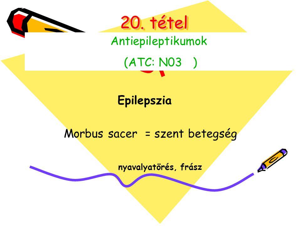 20. tétel Antiepileptikumok (ATC: N03 ) Morbus sacer = szent betegség Epilepszia nyavalyatörés, frász