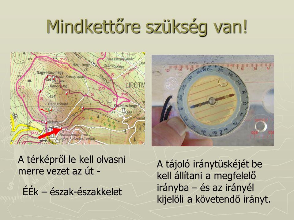Mindkettőre szükség van! A térképről le kell olvasni merre vezet az út - ÉÉk – észak-északkelet A tájoló iránytüskéjét be kell állítani a megfelelő ir