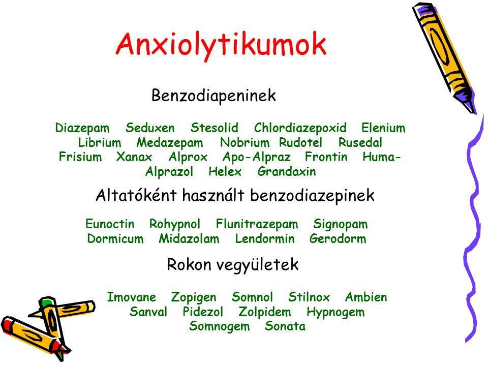Anxiolytikumok Benzodiapeninek Diazepam Seduxen Stesolid Chlordiazepoxid Elenium Librium Medazepam Nobrium Rudotel Rusedal Frisium Xanax Alprox Apo-Al